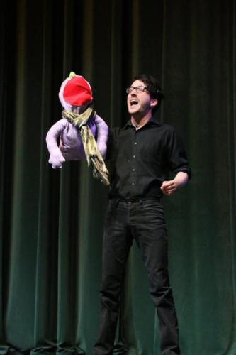 "Sammy Lowe performing a musical theatre number from ""Avenue Q"""